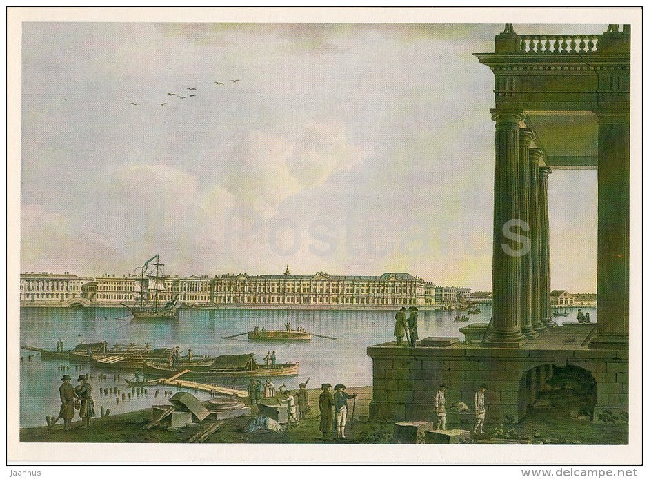 painting by Benjamin Patersen - Palace Embankment - St. Petersburg - Swedish art - Russia USSR - 1984 - unused - JH Postcards