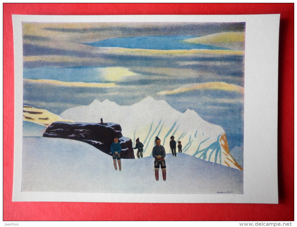 painting by Rockwell Kent - Hunter's Return . Northern Greenland . 1933 - art of USA - unused - JH Postcards