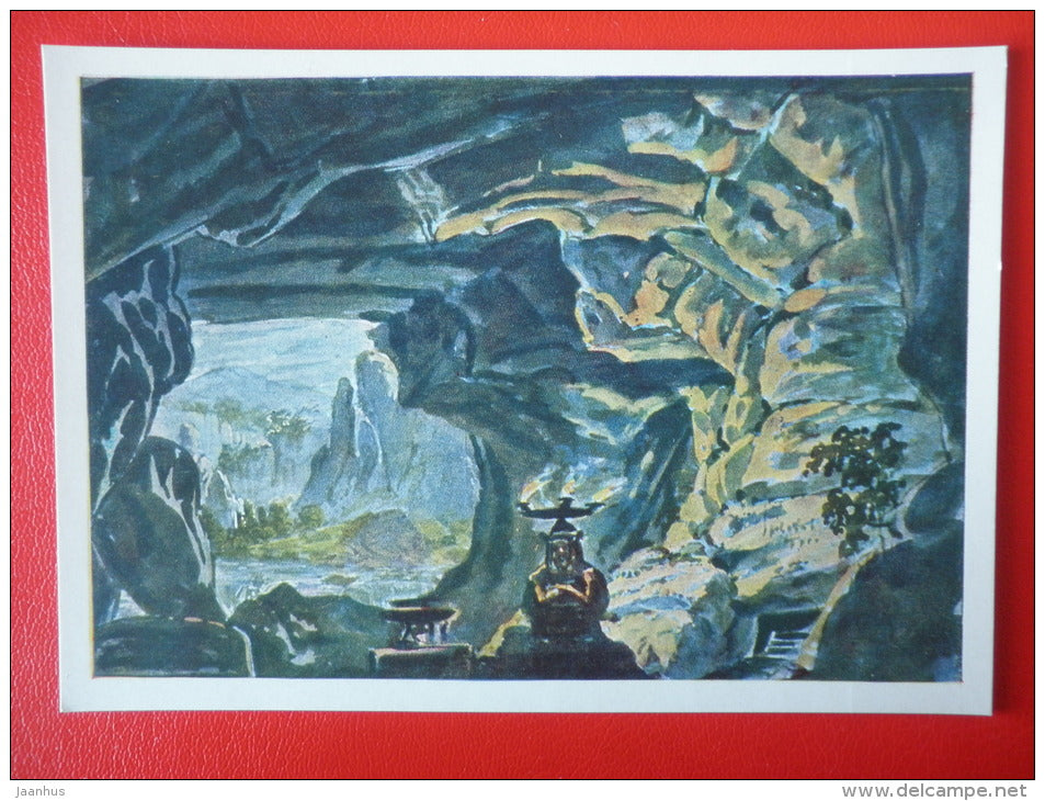 painting by N. Feodorov . Design for Glinka's opera Ruslan and Lyudmila - State Theatre Museum in Moscow - unused - JH Postcards