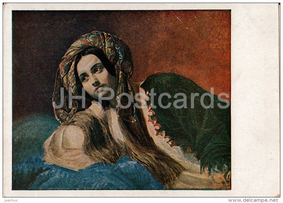 painting by K. Bryullov - A Turk Woman - Russian art - 1937 - Russia USSR - unused - JH Postcards