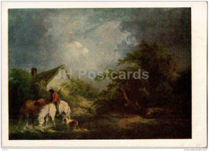 painting by George Morland - Approaching thunderstorm , 1791 - horses - English art - 1955 - Russia USSR - unused - JH Postcards