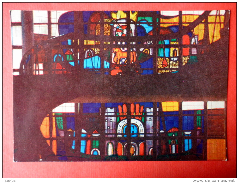 stained-glass panel in the Trakai restaurant - Trakai - 1977 - Lithuania USSR - unused - JH Postcards
