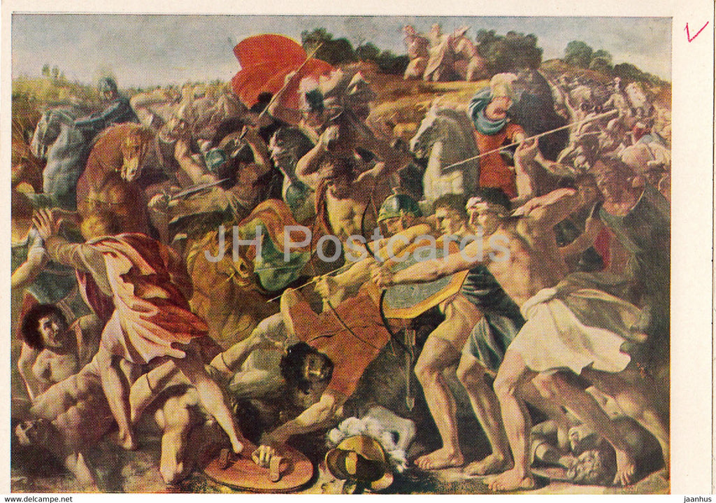 painting by Nicolas Poussin - Combat of the Israelites with the Amalekites - French art - 1966 - Russia USSR - unused - JH Postcards