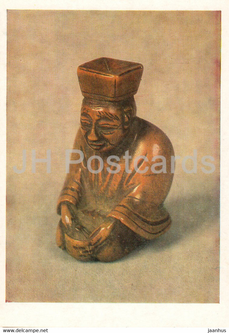 Netsuke - Japanese Tea Master Tya Dzin - wood - Japanese art - 1987 - Russia UUSR - unused - JH Postcards