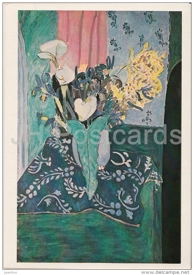 painting by Henri Matisse - Azure Vase with Flowers on Blue Table-Cloth - French art - 1980 - Russia USSR - unused - JH Postcards