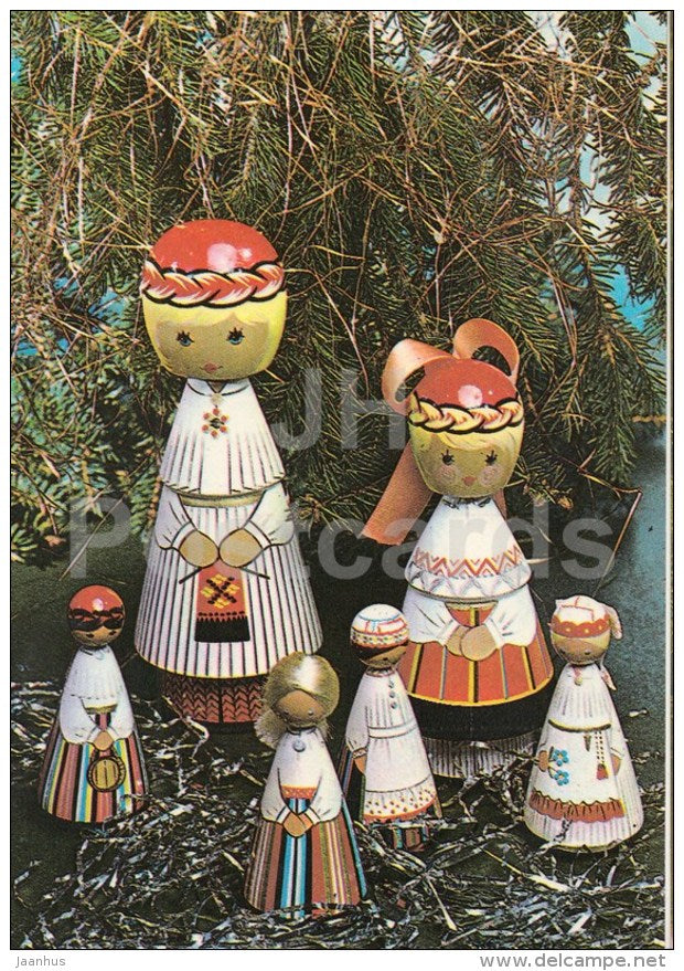 New Year Greeting card - 2 - wooden dolls in Estonian folk costumes - 1983 - Estonia USSR - used - JH Postcards