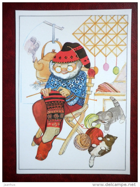 New Year Greeting card - illustration by Maarja Värv - cats - Christmas crown - knitting - 1989 - Estonia USSR - used - JH Postcards