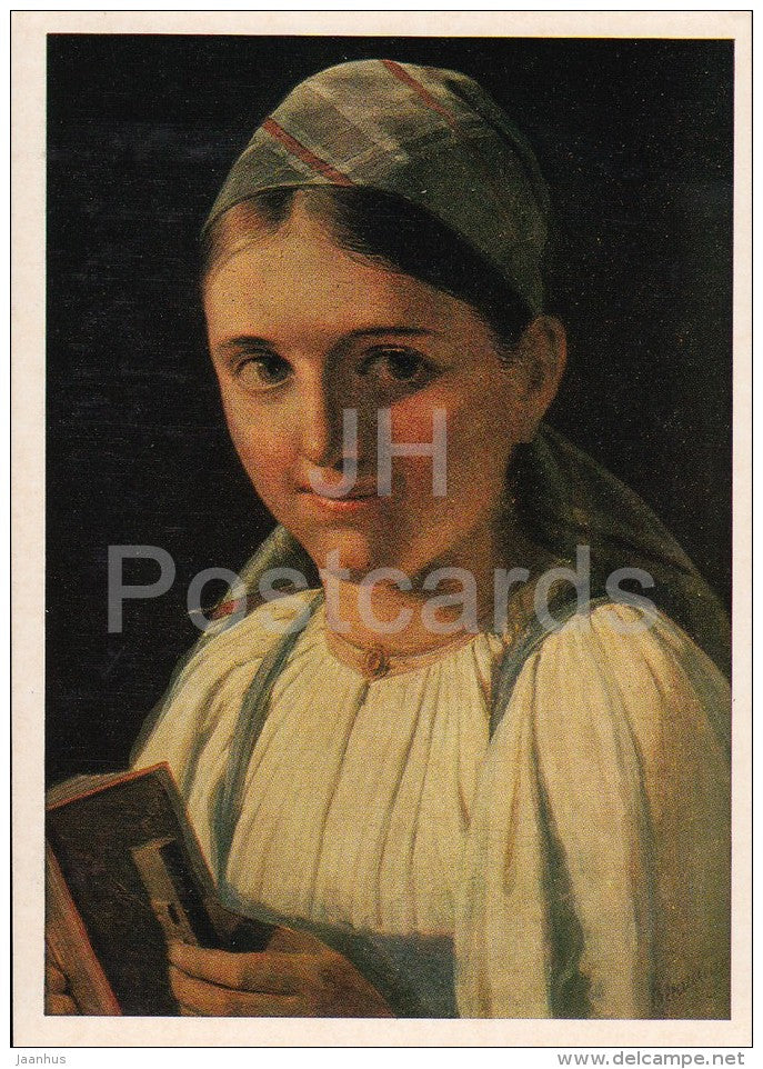 painting by A. Venetsianov - Girl with Accordion , 1840s - Russian art - 1975 - Russia USSR - unused - JH Postcards