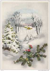 Christmas Greeting Card - winter view - illustration - Estonia - used in 1999 - JH Postcards