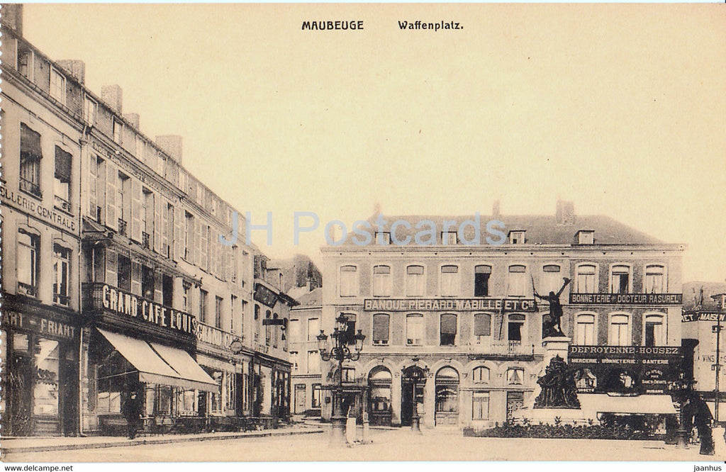 Maubeuge - Waffenplatz - cafe - Banque Pierard Mabille - old postcard - France - unused - JH Postcards