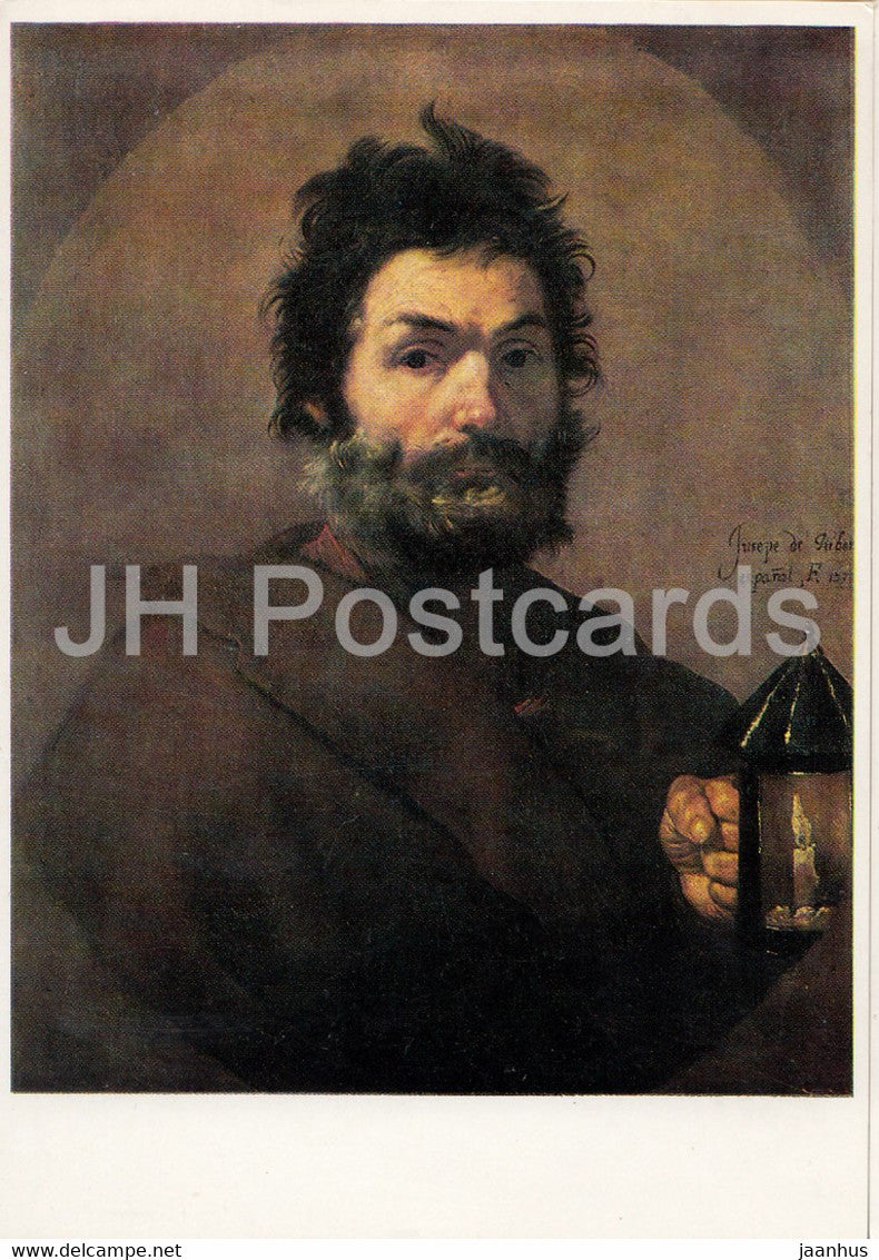 painting by Jusepe de Ribera - Diogenes mit der Laterne - 9289 - Spanish art - Germany DDR - unused - JH Postcards
