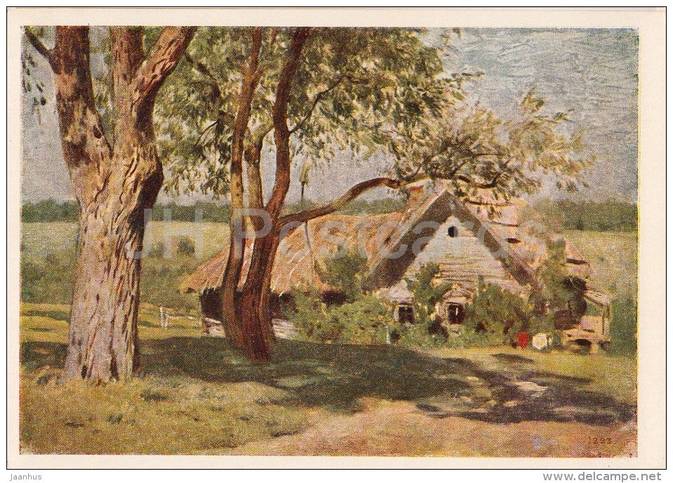 painting by I. Levitan - Landscape - Farm House - Russian art - 1955 - Russia USSR - unused - JH Postcards