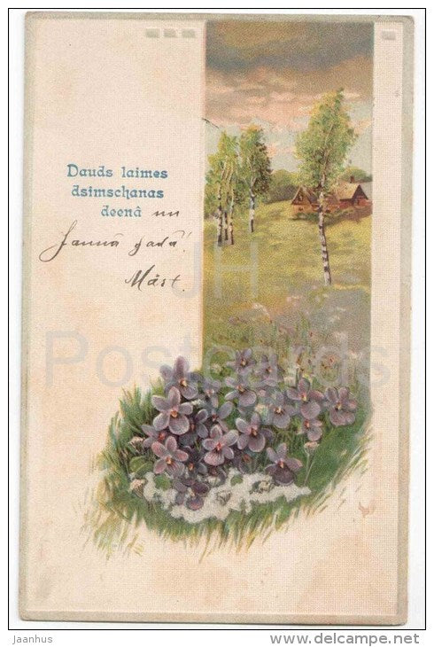 Birthday Greeting Card - flowers - birch trees - house - 3587 - circulated in Imperial Russia Latvia Riga Reval 1912-13 - JH Postcards