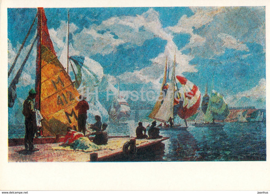painting by A. Passan Sapkov - Yacht Competition - Sport - Soviet art - 1978 - Russia USSR - unused