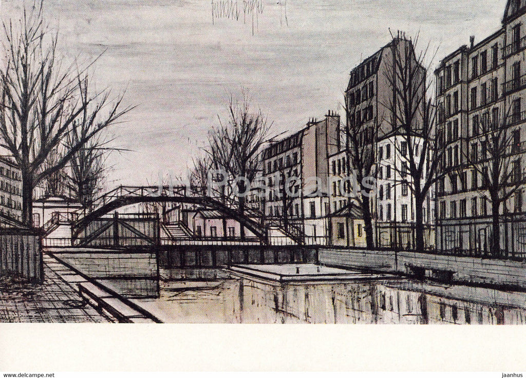 painting by Bernard Buffet - Saint Martin Canal - French art - 1967 - Russia USSR - unused - JH Postcards