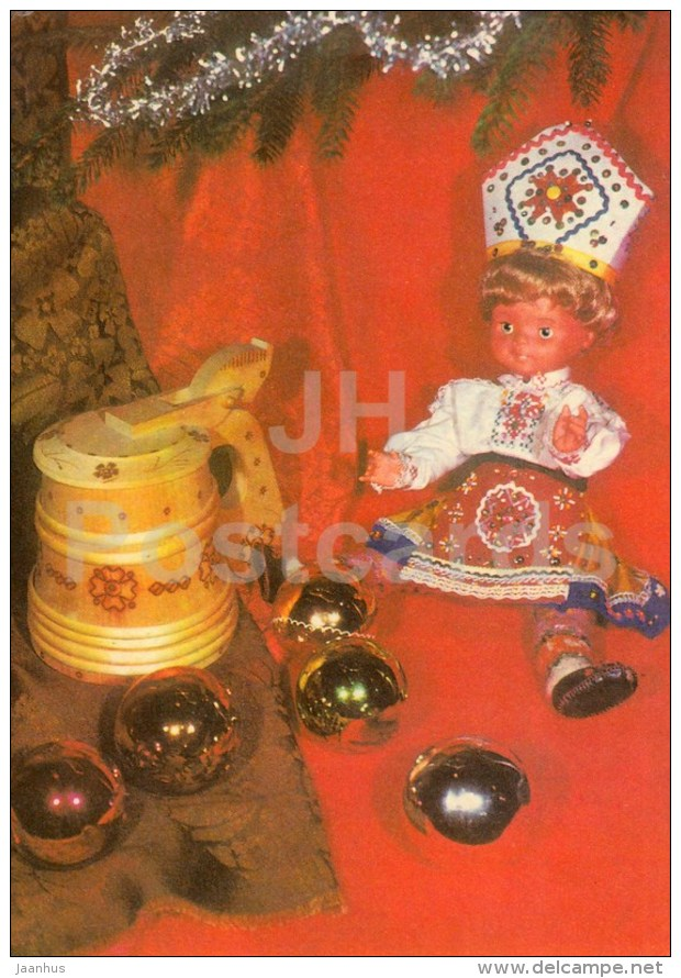 New Year Greeting card - 3 - decorations - beer mug - doll in folk costumes - 1976 - Estonia USSR - used - JH Postcards