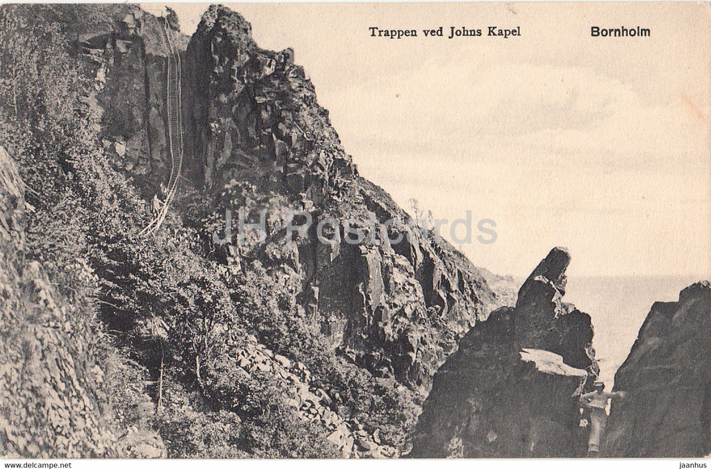 Bornholm - Trappen ved Johns Kapel - old postcard - 1912 - Denmark - used - JH Postcards