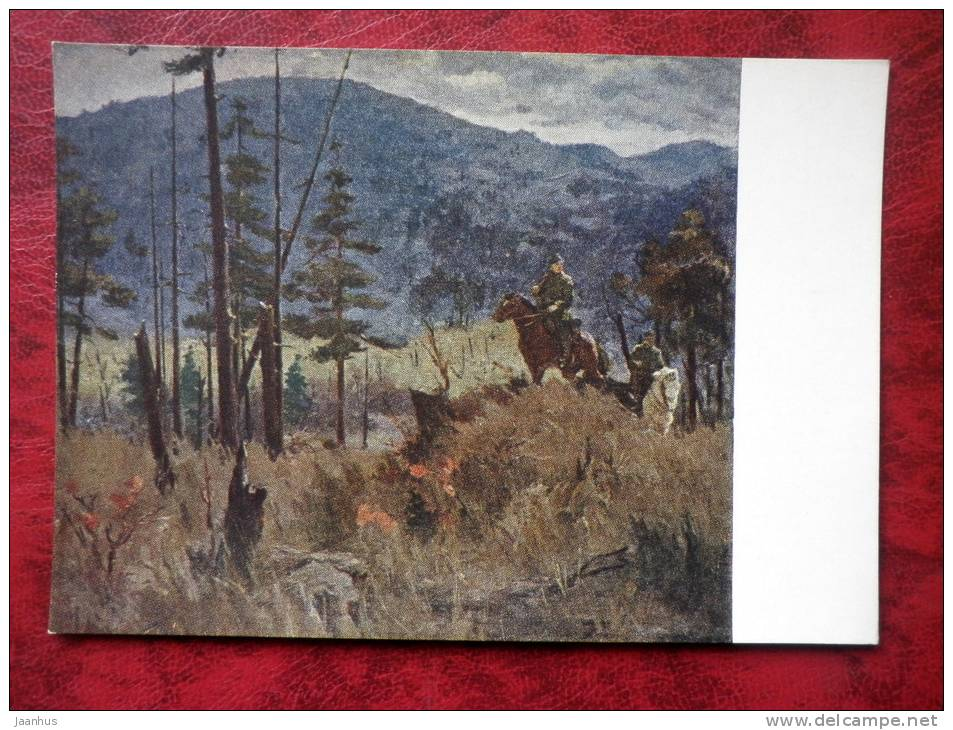 Painting by A. P. Bubnov - Border Patrol, the Far Eastern border - horses - russian art - unused - JH Postcards