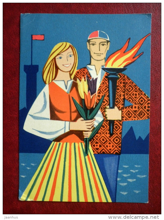 8 March Greeting Card - by V. Pirk - young man and woman in Estonian folk costumes - torch - 1966 - Estonia USSR - used - JH Postcards