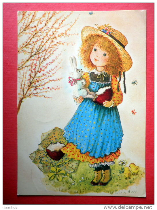 Easter Greeting Card - girl - hare - chick - Red Cross - 7663 - Italy - sent from Finland to Estonia USSR 1980 - JH Postcards