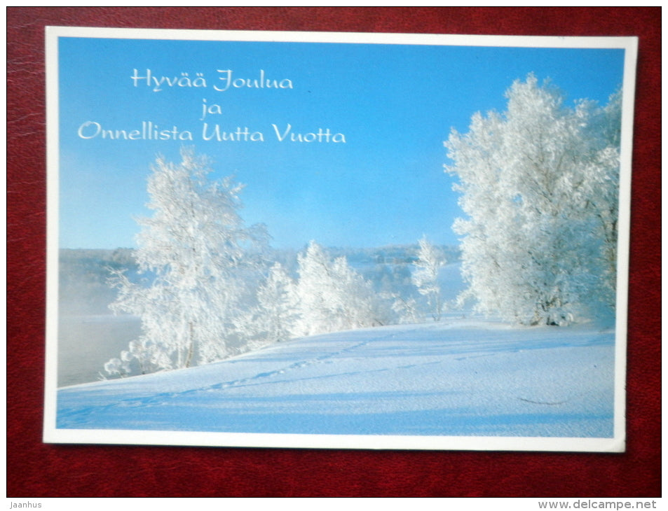 Christmas and New Year Greeting card - winter landscape - sent from Finland to Estonia in 1992 - used - JH Postcards