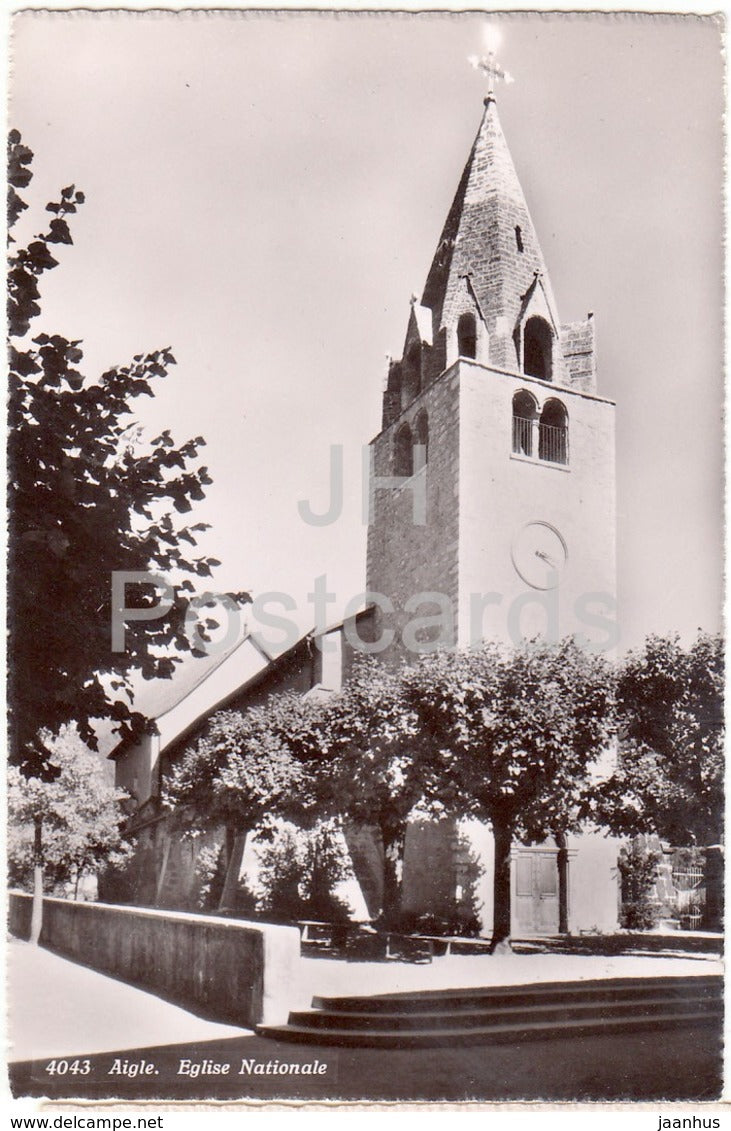 Aigle - Eglise Nationale - church - 4043 - Switzerland - 1958 - used - JH Postcards
