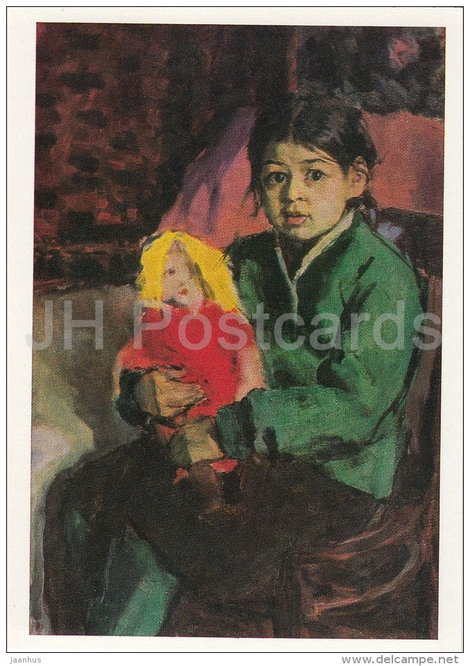 painting by A. Abdullaev - Portrait of Shakhla , 1959 - children - girl - doll - Uzbek art - 1988 - Russia USSR - unused - JH Postcards