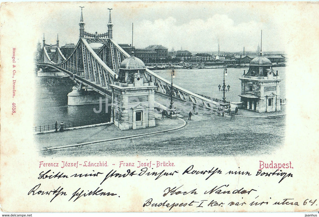 Budapest - Ferencz Jozsef Lanczhid - Franz Josef Brucke - bridge - 4658 - old postcard - 1898 - Hungary - used - JH Postcards