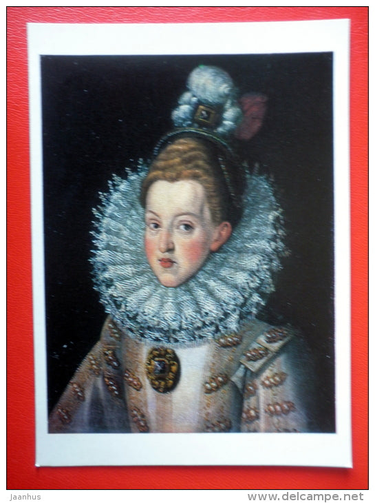 painting by Juan Pantoja de la Cruz . Margaret of Austria, Queen of Spain - spanish art - unused - JH Postcards
