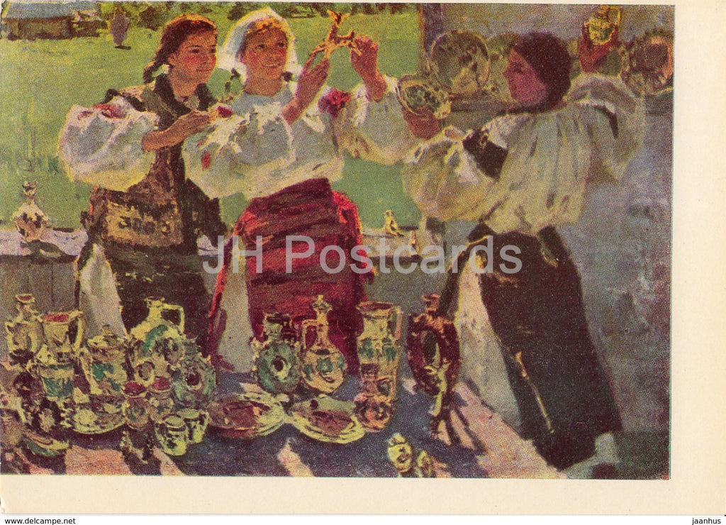painting by T. Holembievska - Ukrainian Jugs - Ukrainian art - 1966 - Ukraine USSR - unused