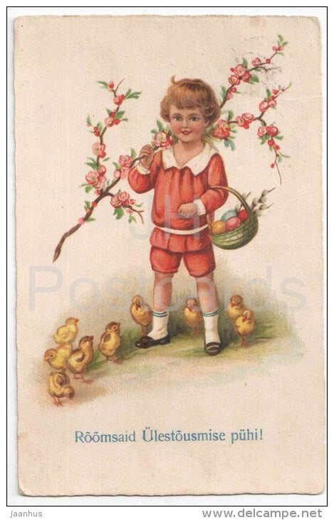 Easter Greeting Card - boy - eggs - chicken - Amag 1707 - circulated in Estonia Tallinn 1929 - JH Postcards