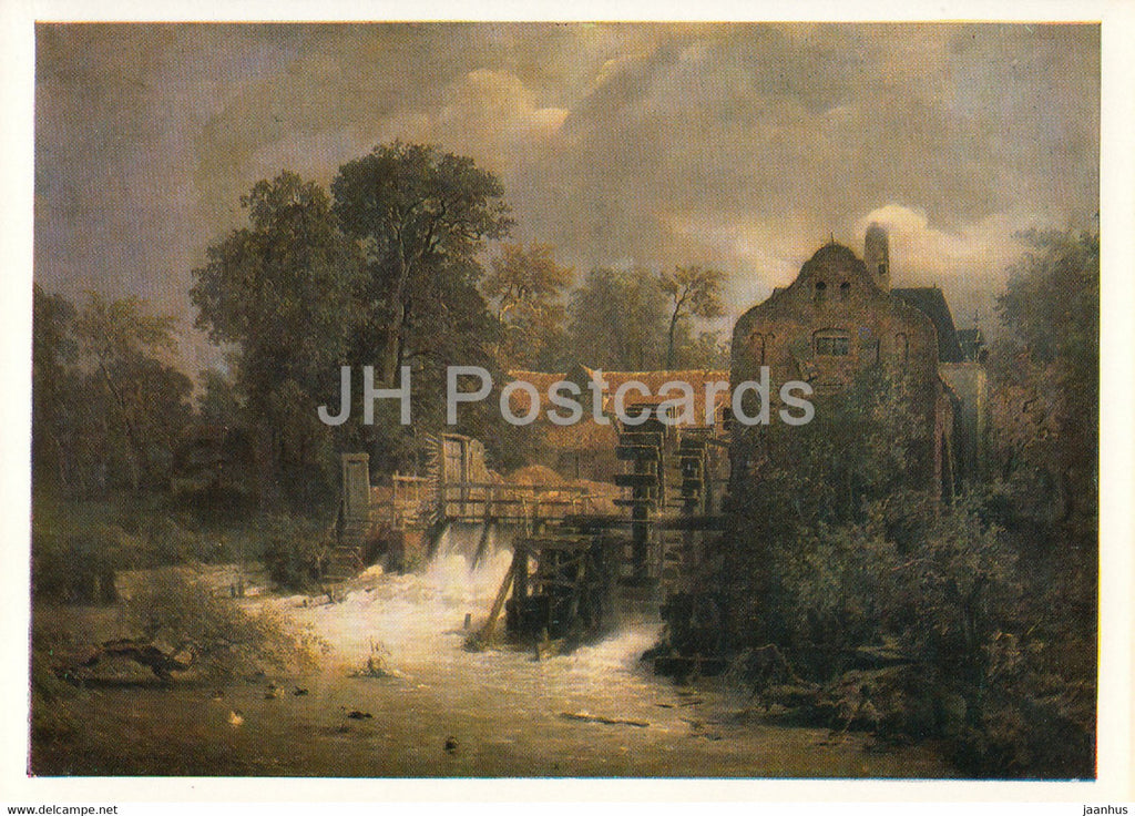 painting by Andreas Achenbach - Westfalische Muhle - watermill - 1168 - German art - Germany DDR - unused - JH Postcards