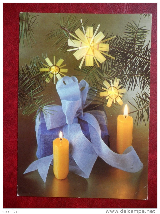 Christmas greeting card - candles - decorations - 1985 - Germany - used - JH Postcards
