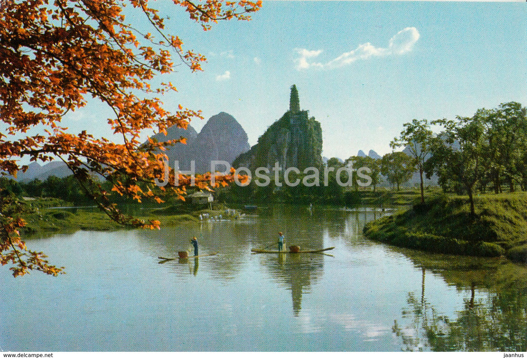 Kweilin - Guilin - Pagoda Hill from a distance - 1973 - China - unused