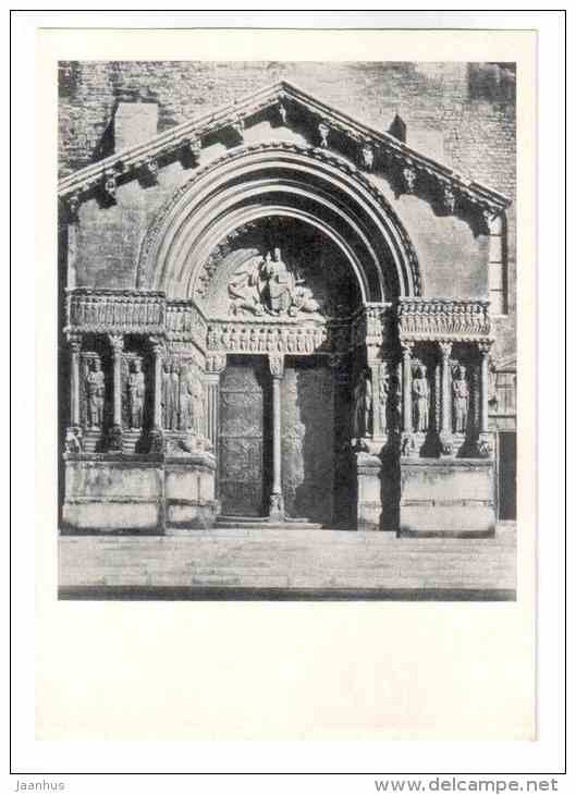 Abbey Church St. Trophime - portal - Arles - Romanesque architecture - 1971 - France - unused - JH Postcards
