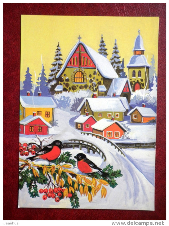 Christmas and New Year greeting card - town - bullfinch - birds - Finland - used - JH Postcards