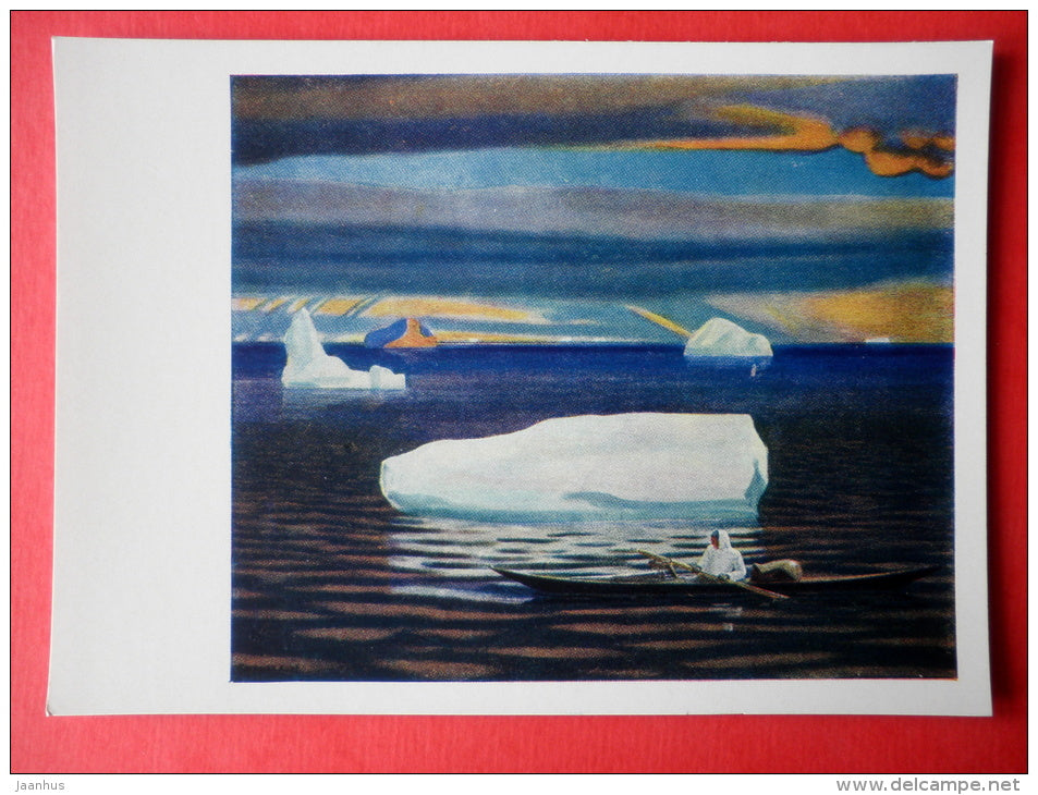 painting by Rockwell Kent - Eskimo in the Kayak . Northern Greenland - art of USA - unused - JH Postcards