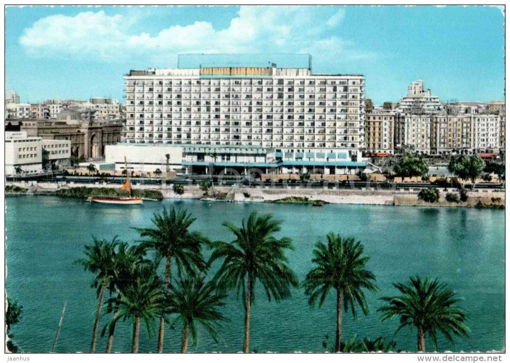 The Nile Hilton Hotel - palm trees - No. 555 - Cairo - Egypt - unused - JH Postcards