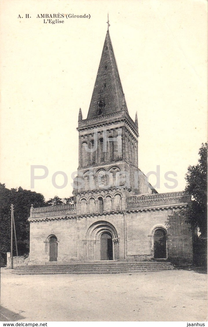 Ambares - L'Eglise - church - 23 - old postcard - 1911 - France - used - JH Postcards