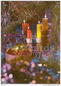 New Year Greeting card - 3 - candles - decorations - 1983 - Estonia USSR - used - JH Postcards