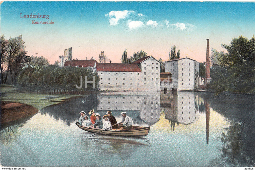 Lundenburg - Kunstmuhle - Breclav - boat - old postcard - Czech Republic - unused - JH Postcards