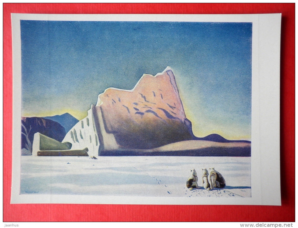painting by Rockwell Kent - Seal Hunter . Northern Greenland . 1933 - dogs - art of USA - unused - JH Postcards