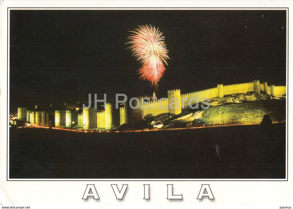 Avila - Murallas - Vista parcial nocturna - Walls - Partial Night View - fireworks - 100 - 2003 - Spain - used - JH Postcards