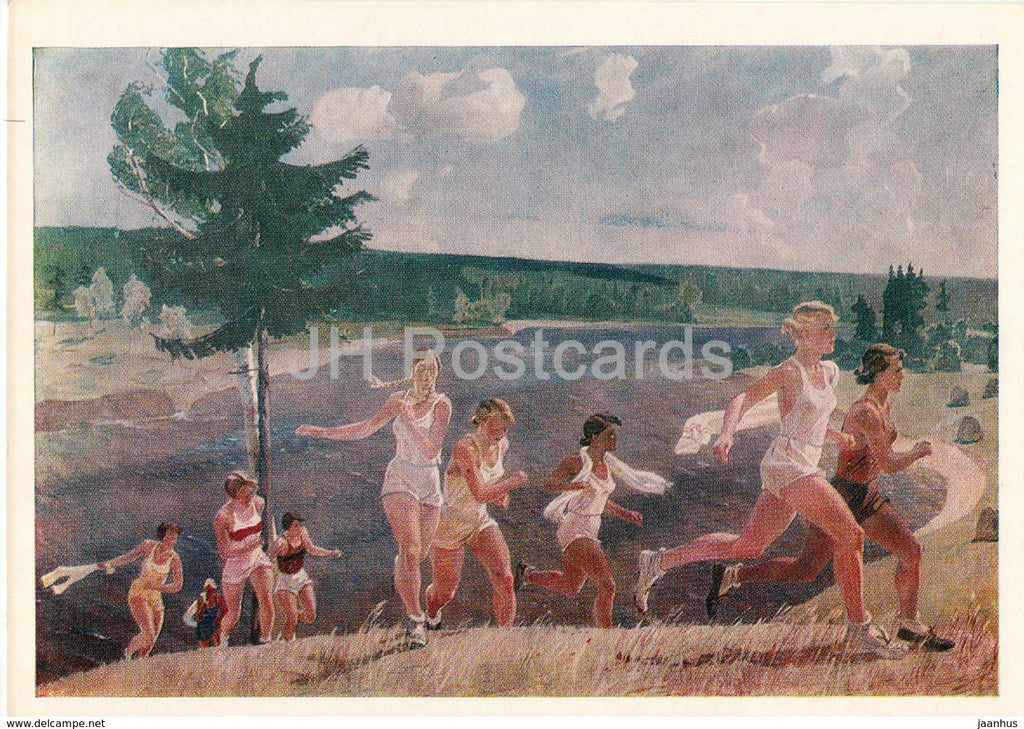 painting by A. Deineka - A Bright Sunny Day - Sport - Soviet art - 1978 - Russia USSR - unused