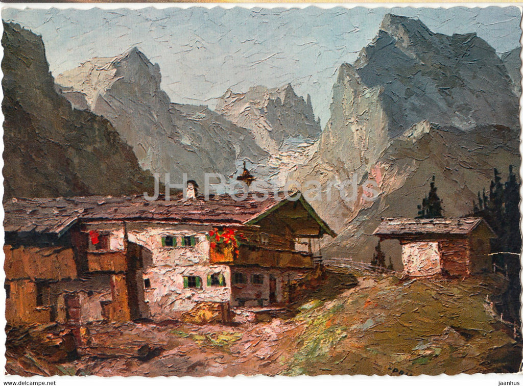 painting - Gehoft im Wilden Kaiser - Original Prinz - Austrian art - Austria - unused - JH Postcards