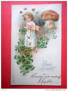 new year greeting card - girl - pig - mushroom - butterfly - 13551 circulated in Imperial Russia Estonia Wesenberg 1900s - JH Postcards