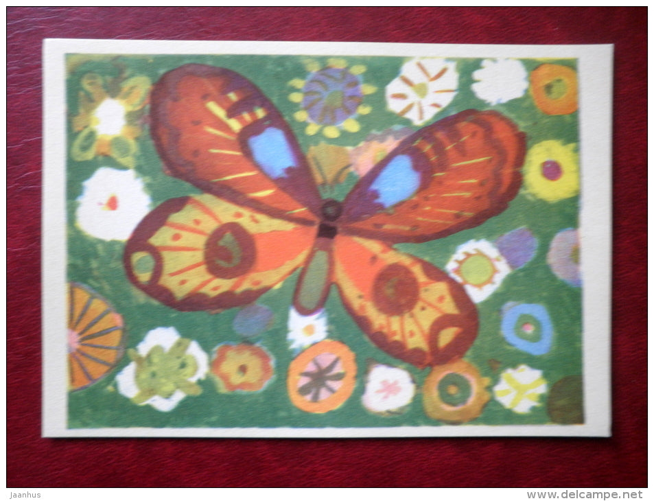 Butterfly - flowers - illustration by A. Rumvolt - Juvenile Artists - 1970 - Estonia USSR - unused - JH Postcards