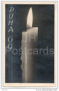 Christmas Greeting Card - candle - by K. Akel - circulated in Estonia 1937 - JH Postcards