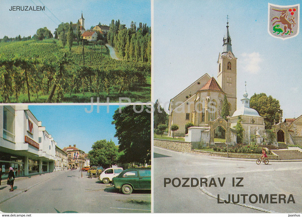 Pozdrav iz Ljutomera - Ljutomer - Jeruzalem - church - town view - multiview - Yugoslavia - Slovenia - unused - JH Postcards