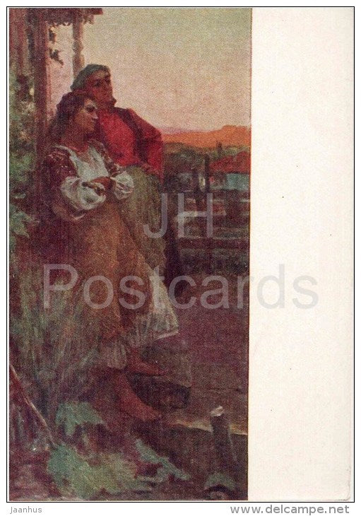 painting by O. Kacharov - By the evening in Moldova - man and woman - russian art  - unused - JH Postcards